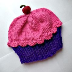 Cupcake Hat with Cherry on Top Dark Chocolate Cake Raspberry Watermelon Frosting Children Baby Toddler handmade hand knit by StellasKnits on Etsy