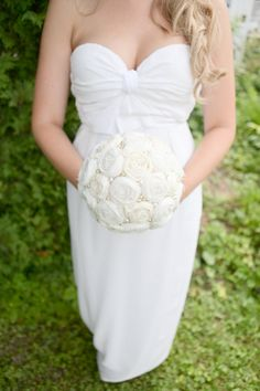 Signature Fabric Rosette Bridal Bouquet $290.00