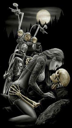 DGA Lovers Ride or Die Skull Motorcycle Queen Size Royal Plush Blanket Skeleton Love, Skeleton Art, Cholo Art, Chicano Art, Motorcycle Art, Bike Art, Dark Fantasy Art, Dark Art, David Mann Art