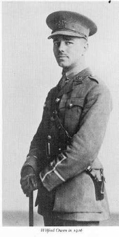 Wilfred Owen, in my opinion THE great poet of World War I. Tragically, he didn't survive.