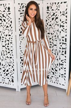 Modest Dresses, Modest Outfits, Modest Fashion, Cute Outfits, Modest Clothing, Work Outfits, Vertical Striped Dress, Long Sleeve Striped Dress, Coral Summer Dresses