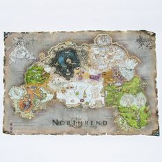 Northrend Map, World of Warcraft Map Cotton Canvas Digital Print, Northrend Print