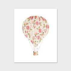 Nursery Art Print Hot Air Balloon Nursery by PaperCanoePrintables