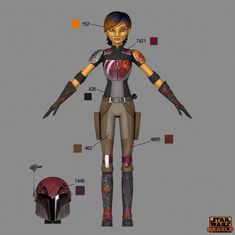 Learn the correct shades and hues for your Star Wars Rebels costumes -- straight from the show's creators. Star Wars Characters, Star Wars Episodes, Female Characters, Cosplay Characters, Mandalorian Costume, Mandalorian Armor, Nave Star Wars, Star Wars Art, Saga
