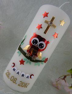 Taufkerzen - Patenkerze Eule - ein Designerstück von Lenz-Kerzen bei DaWanda Christmas Ornaments, Holiday Decor, Owls, Crafting, Christmas Jewelry, Christmas Decorations, Christmas Decor