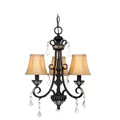 $222.99 17Dia x 20L, 3x 60watts, acrylic, in English Bronze finish w/mocha fabric shades, crystal accents? Florence 3 light chandelier by Dolan Designs on Wayfair.com Matching semi flushmount and wall sconce available.