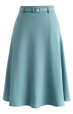 Savvy Basic Belted A-line Skirt in Steel Blue - Bottoms - Retro, Indie and Unique Fashion