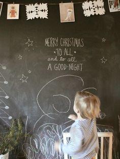 Christmas Chalkboard Wall + Art on a string