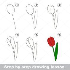 Afbeeldingsresultaat voor tulpen tekenen