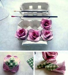 ..flores con cajas de huevo ..