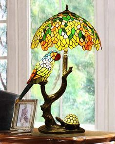 Consider this stained glass lamp as a centerpiece on your end tables or nightstands. To view more like this go to stainedglassspark Stained Glass Lamp Shades, Stained Glass Art, Mosaic Glass, Tiffany Stained Glass, Antique Lamps, Vintage Lamps, Lampe Retro, Best Desk Lamp, Room Lamp