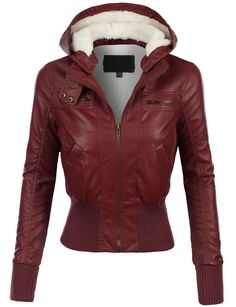 LE3NO Womens Faux Leather Zip Up Moto Jacket with Hood