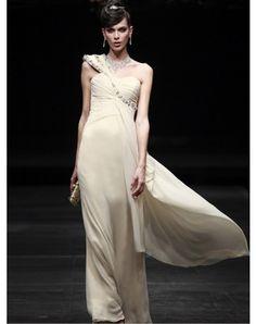 A-line One Shoulder Beading Sleeveless Floor-length Chiffon Prom Dresses / Evening Dresses (SZ0259561)