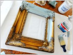Painting gold frames and candlesticks!