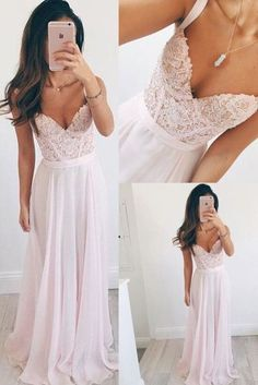Girly Pink Lace Chiffon Long Prom Dresses,Pretty Modest Prom Gowns,Prom Dress For Teens,Elegant Party Dresses,Evening Dresses