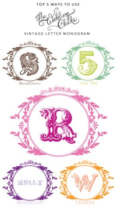 Top 5 Ways To Use Wedding Chicks Free Vintage Monogram. Start Creating Yours! http://www.weddingchicks.com/freebies/custom-monograms/vintage-monogram/