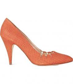 rust orange mid heels
