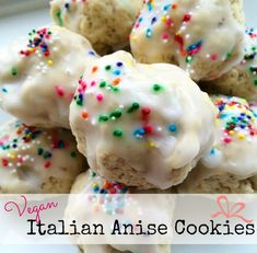 Vegan Italian Anise Cookies - One Green PlanetOne Green Planet Köstliche Desserts, Delicious Desserts, Dessert Recipes, Plated Desserts, Anise Cookie Recipe, Cookie Recipes, Vegan Treats, Vegan Foods, Vegan Recipes