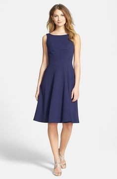 Marc New York by Andrew Marc Bateau Neck Fit  Flare Dress available at #Nordstrom