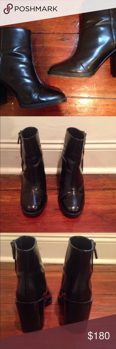 Zara Shiny Ankle Boots Zara TRF shine black side zip up ankle boots with heel to it. Size 9 USA (39 Europe). Worn once or twice. Please send reasonable offers through the offer button! Zara Shoes Ankle Boots & Booties