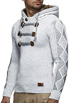 the 98 best zakzak images on pinterest male fashion, crow and hoodie  leif nelson strickpullover mit kapuze ln4205 (s, grau)