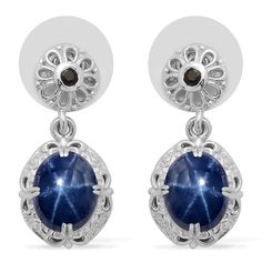 Liquidation Channel: Thai Blue Star Sapphire and Kanchanaburi Blue Sapphire Earrings in Platinum Overlay Sterling Silver (Nickel Free)