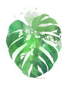 INSTANT DOWNLOAD Monstera Botanical Art Print by KatrinaWardNZ
