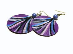 Round Leather Earrings Sodalite Earrings Painted by LunaEssence