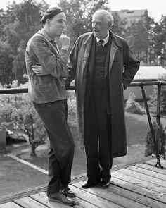 "Ingmar Bergman and Victor Sjöström 1957 during filming of ""Wild Strawberries"" in the studios in Solna."