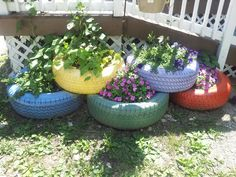 Flower bed out of tires