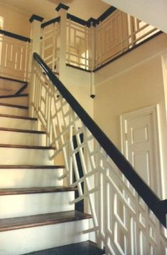A Chinese Chippendale staircase like the one in Markwood Ville, the home Lion acquires in the Philadelphia countryside. Staircase Railings, Stairways, Wood Stairs, Grand Staircase, Home Interior Design, Interior And Exterior, Design Interiors, Balustrades, Railing Design