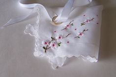 Wedding Handkerchief Keepsake Dogwood Blossoms Mother of the Bride or Groom Bridesmaid Gift Bride's Vintage Hanky Something Old Gift