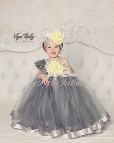 """Charlotte"" flower girl dress in gray with handmade peony flower and feathers.  This is to die for!!!"