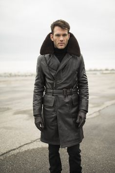 Cockpit USA's Type M-69D Air Transport Coat. Crafted from durable goatskin with a real mouton shearling collar.