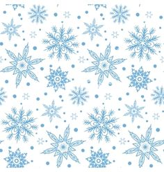 Winter pattern with various falling snowflakes vector by tukkki on VectorStock®