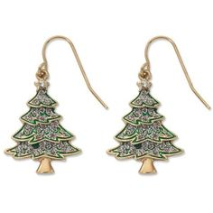 Kim Rogers Gold Gold-Tone Glitter Christmas Tree Drop Earrings (24 RON) ❤ liked on Polyvore featuring jewelry, earrings, gold, gold tone drop earrings, evening jewelry, holiday jewelry, gold jewelry and sparkly earrings
