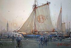 Drying the Sails, Chioggia, Italy, 35 x 53cm Joseph Zbukvic
