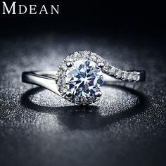MDEAN 화이트 골드 도금 빈티지 여성 약혼 반지 bague 패션 여성 반지 웨딩 CZ 다이아몬드 보석 비쥬 MSR049
