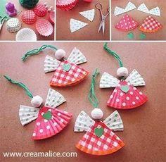 Angelitos de papel cupcake