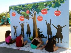 New murals for Valley View Elementary PUSD High school students painting a mural for Valley View Elementary. (Photo courtesy of PUSD) School Wall Decoration, Math Classroom Decorations, School Decorations, Art Classroom, Outdoor Classroom, School Hallways, School Murals, Art School, Sunday School