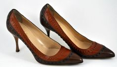 """Cole Haan Collection - 4"""" High Heel Women's Pumps - Made in Italy.  Riveted & Stitched. Taupe & Camel - Leather -  Original retail price is $ 275  *  Size:   US 9 B - 7 B UK - measures 10"""" long and 3"""" across the bottom of the bridge of foot.  *  Condition: Very Good to Excellent Pre-Owned Condition - Upon very close inspection, there are a couple of small scuffs that a cleaning should take care of - bottoms show very little wear - Came out of a High-End Smoke-Free Estate $175"""