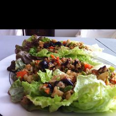 Chinese Lettuce Cups:  Food process the following for filling:   1oz Walnuts  1oz Peanuts  1 Carrot  Chunk Jicama (1 cup)  1 Broccoli Stem or Cup Snap Pea Pods  1 Tbls Hoisin  1 light tps Soy and white Miso  1 Clove garlic  1 Shallot  1-inch cube ginger  Fill lettuce cups, garnish with Hoisin.