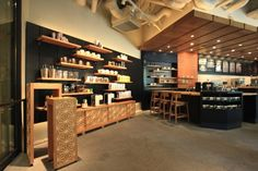 """Starbucks opens new """"traditional Japanese crafts"""" branch in Meguro Starbucks Coffee, Office Open Plan, Book Cafe, Branding, Cafe Shop, Cafe Interior, Interior Design, Japanese Design"""