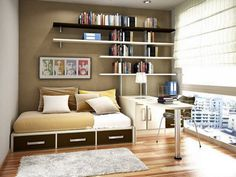 Modish Floating Bookshelves Over Sleeper Couch Storage And Pedestal Study Table And Modern Custom Furnishing In Boys Study Room Ideas