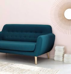 2/3 seater fabric vintage sofa in charcoal grey Iceberg   Maisons du Monde