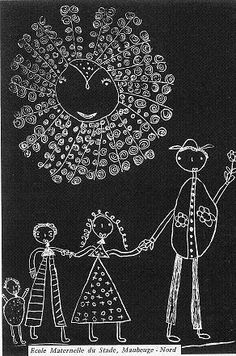 Peinture d'enfant. Gravure sur zinc / école Freinet