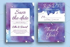 Watercolor wedding invitation set by Epine on @creativemarket
