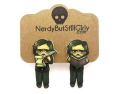 Edgar Allan Poe Cling Earrings from Nerdy But Still Girly Faux Gauges, Allen Poe, Closet Accessories, Edgar Allan Poe, Geek Out, Making Out, Fallout Vault, Illusions, Nerdy