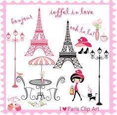 I love Paris Clip Art Set by 1EverythingNice on Etsy