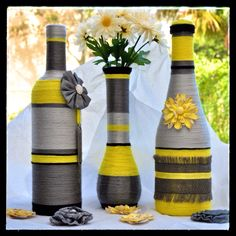 Yellow and Grey Set Wrapped Wine Bottles, Empty Wine Bottles, Recycled Wine Bottles, Wine Bottle Corks, Glass Bottle Crafts, Painted Wine Bottles, Diy Bottle, Bottles And Jars, Glass Bottles